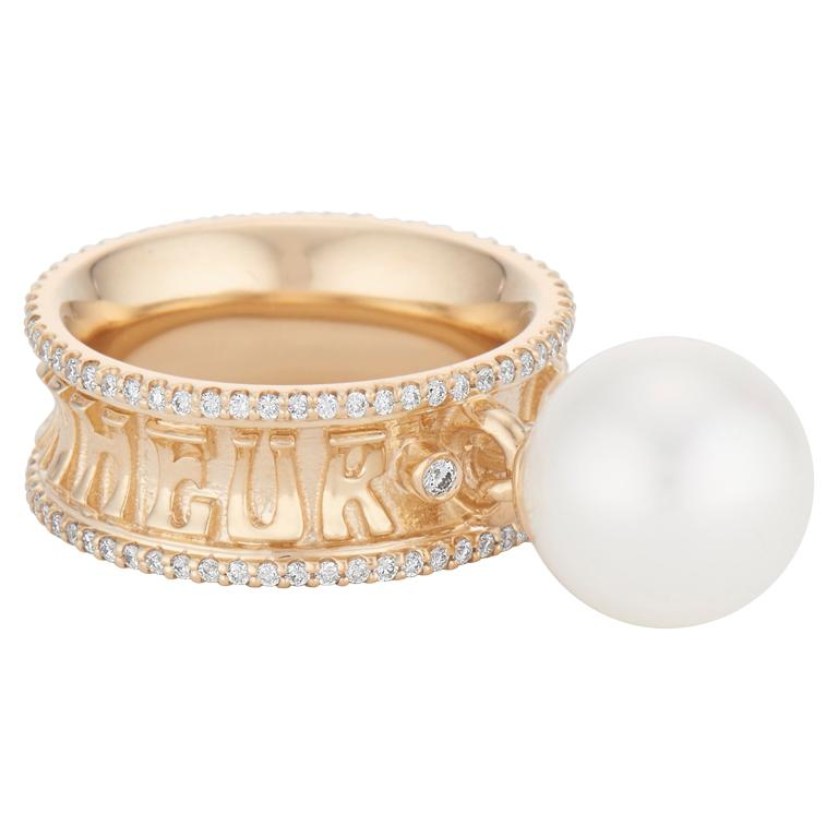 Marlo Laz 14K Gold White Pearl Dancing Pearl Charm Diamond Eternity Band Ring