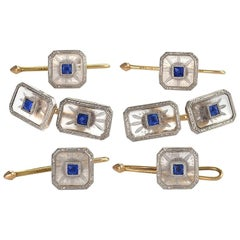 Krementz & Co. Art Deco Sapphire Rock Crystal Platinum and Gold Dress Set