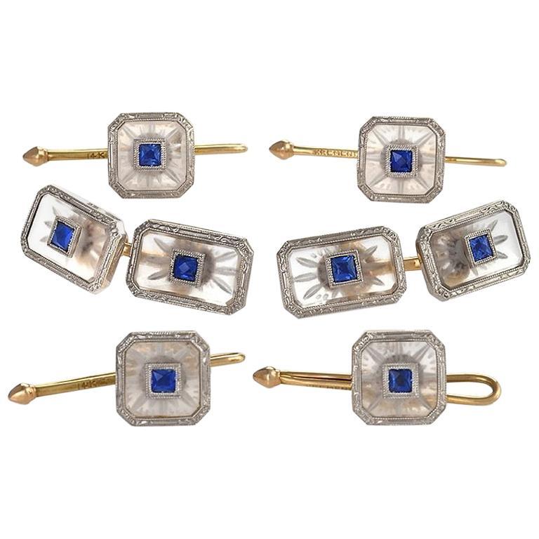 Krementz & Co. Art Deco Sapphire Rock Crystal Platinum and Gold Dress Set For Sale