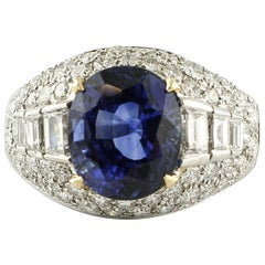 Intense Blue Sapphire, Diamonds, 18 Karat White Gold Cluster Ring