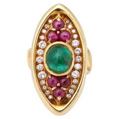 Bulgari 1970s Ruby Emerald Diamond Cocktail Ring