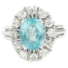 Vintage 2.85 Carat Brazilian Aquamarine Diamonds Cluster 18 Karat Gold Ring