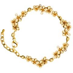 Limited Edition 18 Karat Gold Plum Blossom Bracelet with Diamonds by Artist