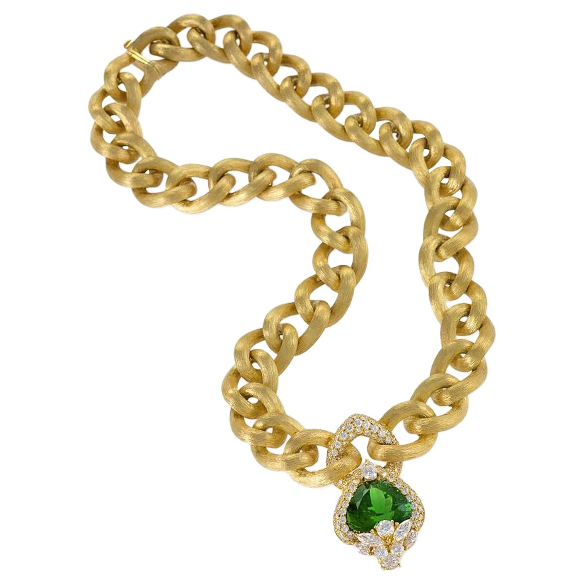 Henry Dunay Gold Necklace with Peridot and Diamonds