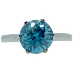 Vintage 2.50 Carat Blue Zircon Solitaire Ring, French Marks, Platinum Band