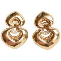 Bulgari Pair of 18 Carat Yellow Gold and Diamond Clip Earrings