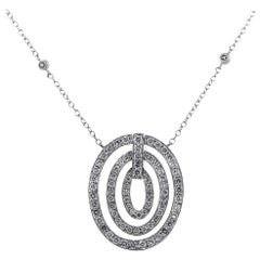 Round Diamond Triple Circle Pendant Necklace