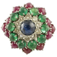 Blue Sapphire, Diamonds, Emeralds, Rubies, 14 Karat White Gold Cluster Ring