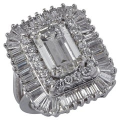 3.50 Carat Emerald Cut Diamond Cocktail Ring