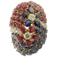 Blue Sapphires, Rubies, Diamonds, White Gold Cluster Ring