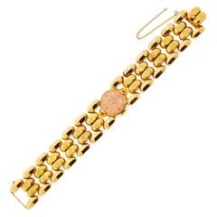 Vintage 1942 Ladies Omega Retro 18 Karat Pink Gold Wristwatch Wide Band 35 Grams