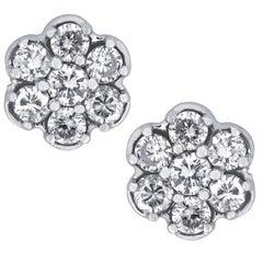 Vivid Diamonds 1 Carat Diamond Cluster Earrings
