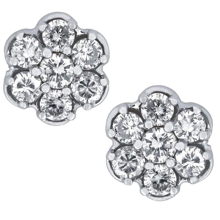Vivid Diamonds 1 Carat Diamond Cluster Earrings For Sale