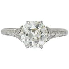 Late Edwardian 1.53 Carat Diamond 14 Karat White Gold Engagement Ring GIA