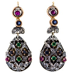 1.35 Carat Emerald Ruby Sapphire White Diamond Yellow Gold Lever-Back Earrings