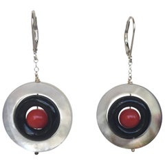 Marina J Mother of Pearl,Onyx and red Coral Earrings with 14 K White Gold