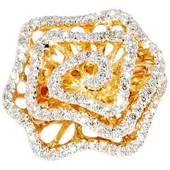 14 Karat Yellow Gold Flower Ring with 1.08 Carat of Diamonds