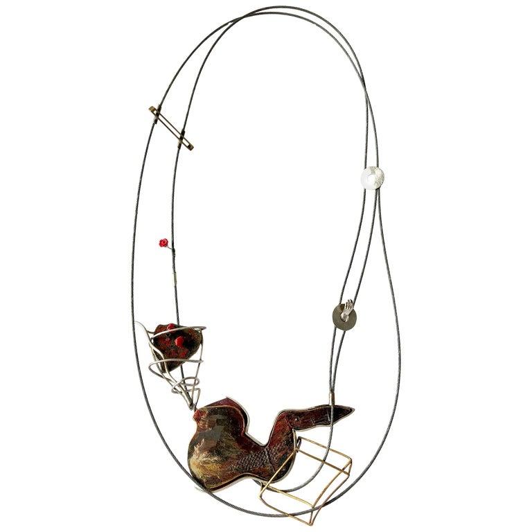 Enid Kaplan Sterling Silver Steel Glass Con Esperanzas Y Rosas Necklace For Sale