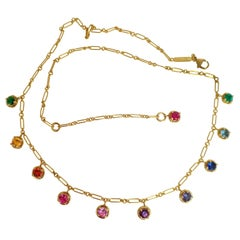 Rainbow Aquamarine Emerald Sapphire Gemstone Handmade Necklace 18 Kt Gold