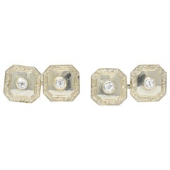 Art Deco 0.72 Carat Diamond 18 Karat White Gold Cufflinks