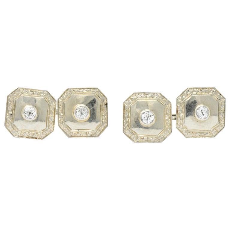 Art Deco 0.72 Carat Diamond 18 Karat White Gold Cufflinks For Sale