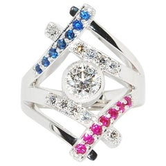 Ruby, Sapphire, and Diamonds in 14 Karat White Gold Patriotic Ring
