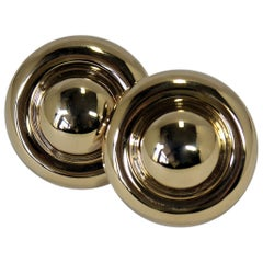 Lightweight, Large Dome, Gold Earrings with Posts and Omega Backs