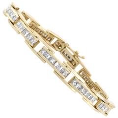 Estate 14 Karat Yellow Gold Princess Cut Diamond Bracelet