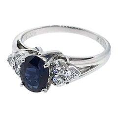 Mikimoto Platinum Diamond and Sapphire Ring