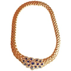 Van Cleef & Arpels Yellow Gold Necklace, Cabochon Sapphires and Diamonds
