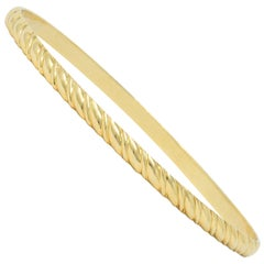 Tiffany & Co. Vintage 14 Karat Gold Ribbed Bangle Bracelet