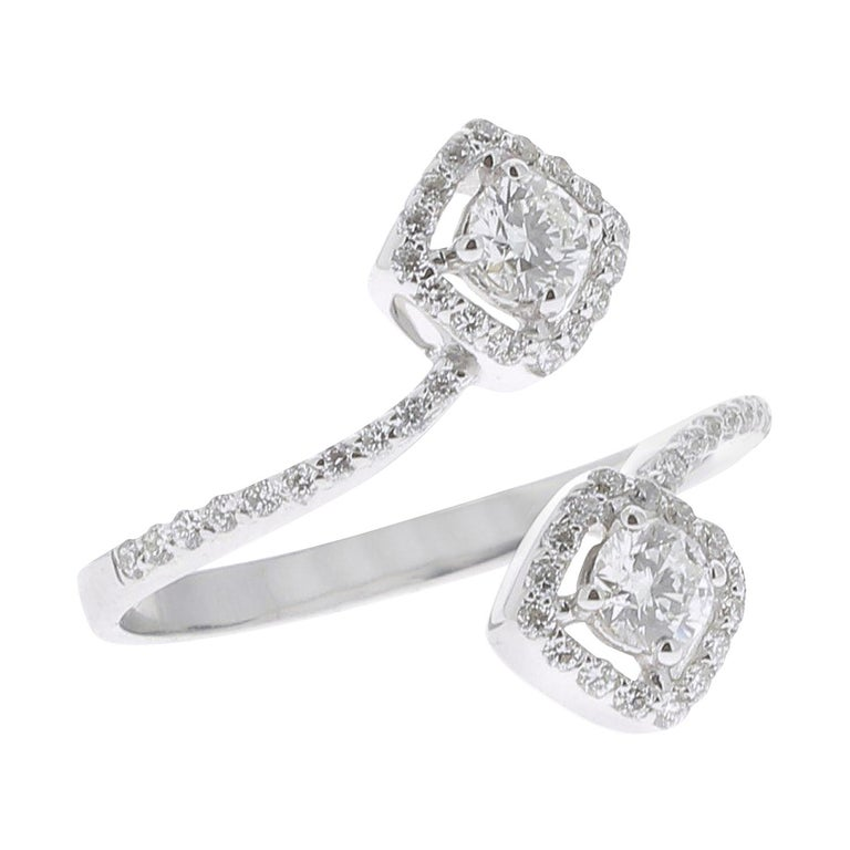 4e73ea911c3a62 ... Cocktail Ring 18 Karat White Gold Engagement Rings For Sale. The Square  Diamond Ring is a unique and trendy model set with 0.66 carats of GVS
