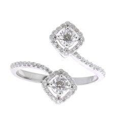 GVS 0.66 Carat Square Diamond Cocktail Ring 18 Karat White Gold Engagement Rings