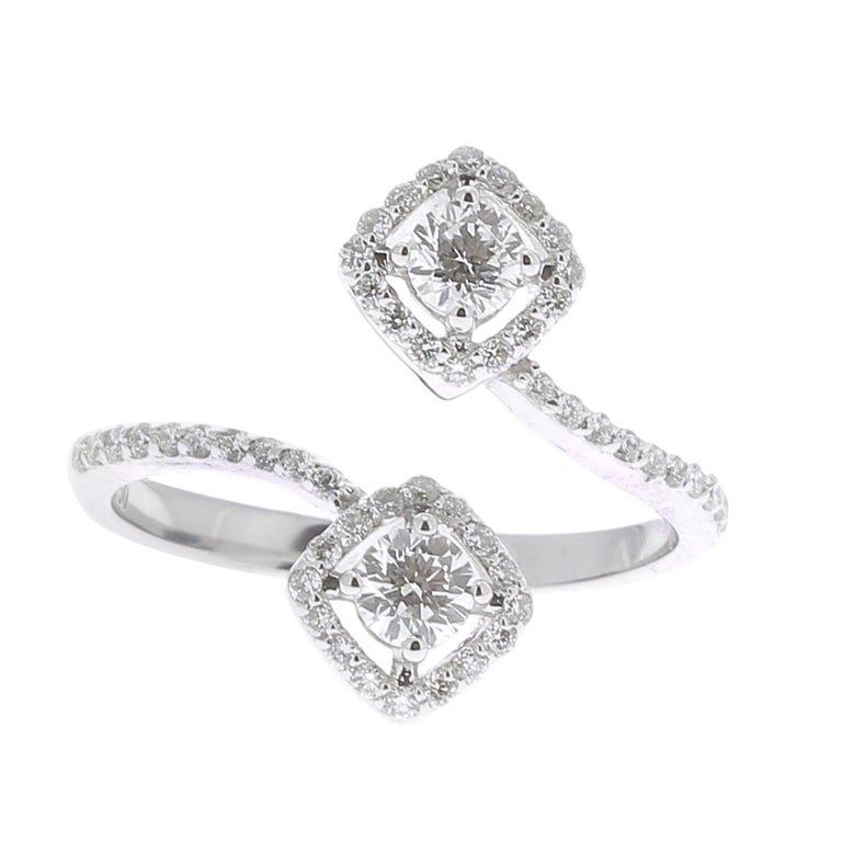 44663ab88ba6e9 GVS 0.66 Carat Square Diamond Cocktail Ring 18 Karat White Gold Engagement  Rings For Sale