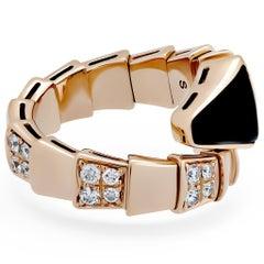 Bvlgari 18 Karat Rose Gold Diamond Onyx Serpenti Ring