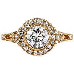 1.04 Carat EGL Certified Old European Cut Diamond Engagement Ring