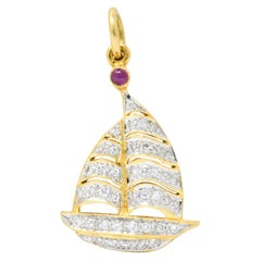 Modern 1980s 0.50 Carat Diamond Ruby 18 Karat Gold Sailboat Charm