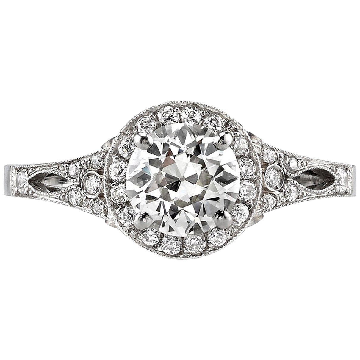 1.20 Carat Old European Cut Diamond Set in a Handcrafted Platinum Ring