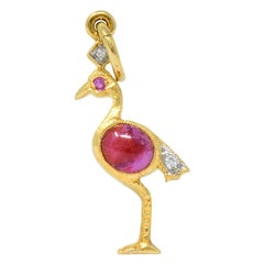 Contemporary 1980s Ruby Diamond 18 Karat Flamingo Gold Charm