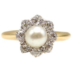 Victorian Old European Cut Diamond Pearl Platinum on Gold Engagement Ring
