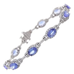 7.72 Carat Total Oval Tanzanite and Diamond Bracelet in 18 Karat White Gold