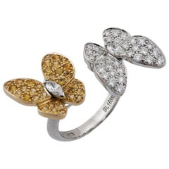 Van Cleef & Arpels 18KTwo-tone Gold Sapphire and Diamond Double Butterflies Ring