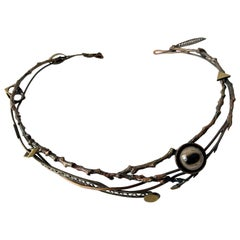 Enid Kaplan Sterling Brass Bronze Glass Eye in the Forest Collar Necklace