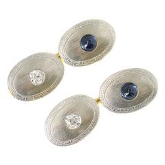 1 Carat Diamond and 1 Carat Sapphire Two-Tone Platinum Cufflinks