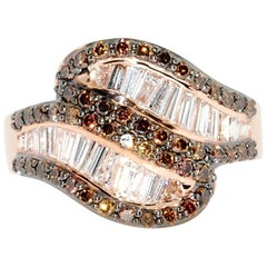 Custom Made Coco and Colorless Diamond Fashion Band in 14 Karat Rose Gold