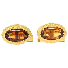 Vintage Citrine Cabochon 18 Karat Gold Men's Cufflinks