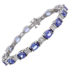 11.10 Carat Total Oval Tanzanite and Diamond Bracelet in 18 Karat White Gold