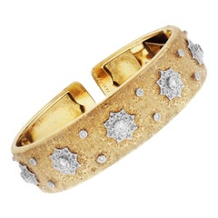 Buccellati Yellow White Gold and Diamond Cuff Bangle Bracelet