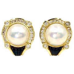 La Triomphe 18 Karat Diamond, Pearl and Onyx Button Earrings
