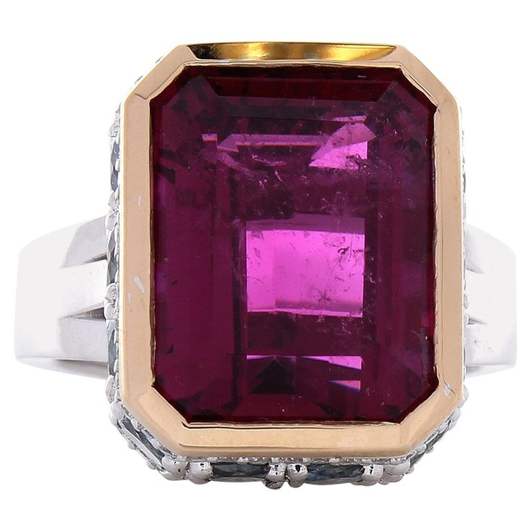 12.22 Carat Emerald Cut Rubelite and Diamond Cocktail Two Tone Ring in 18 Karat For Sale